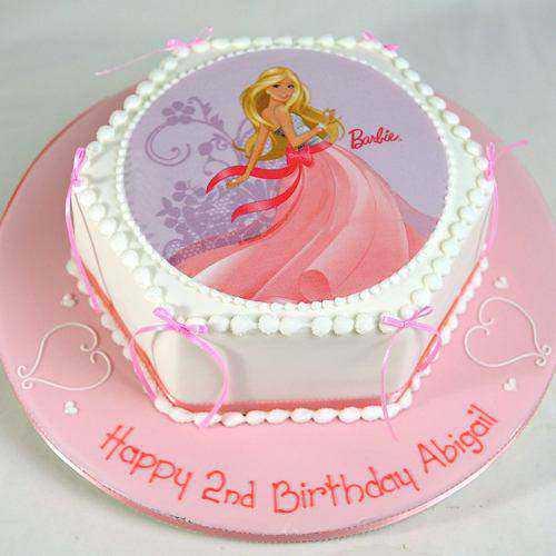 Tempting Barbie Photo Cake in Hexagon Shape