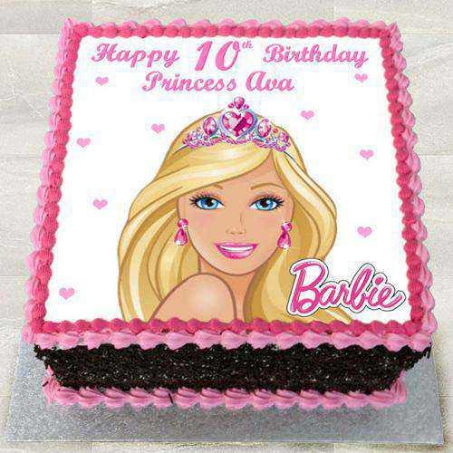 Heavenly Egg Less Barbie Photo Cake for Kids
