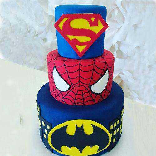 Divine 3 Tier Super Hero Cake for Kids Party