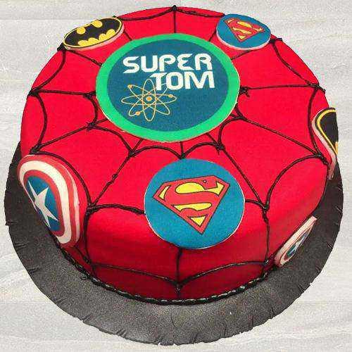 Remarkable Super Hero Fondant Cake for Kids