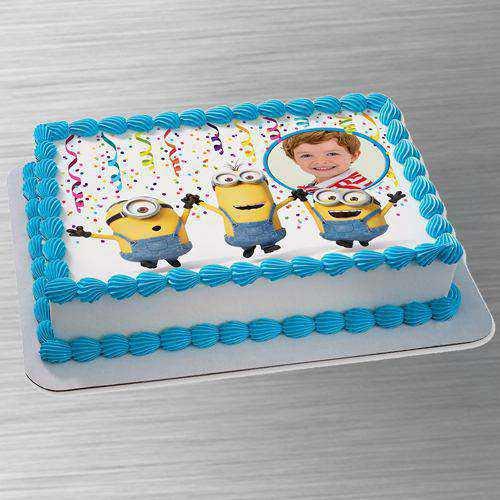 Elegant Minion N Personalized Photo Cake for Kids