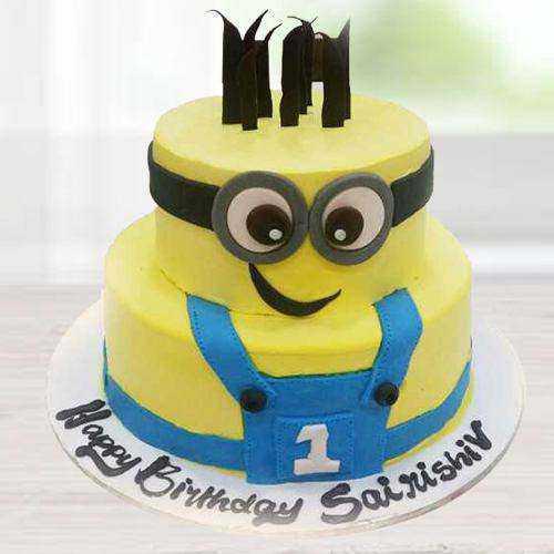 Scrumptious 2 Tier Minion Cake for Kids Party