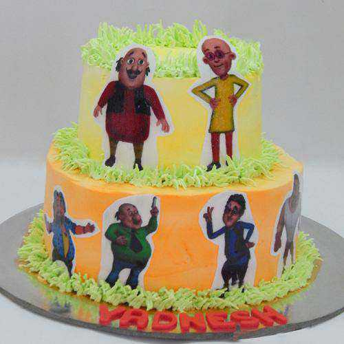 Surprising Kids Special Two Tier Motu Patlu Cake