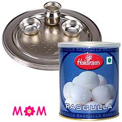 Silver Plated Thali N Haldirams Rasgulla Combo