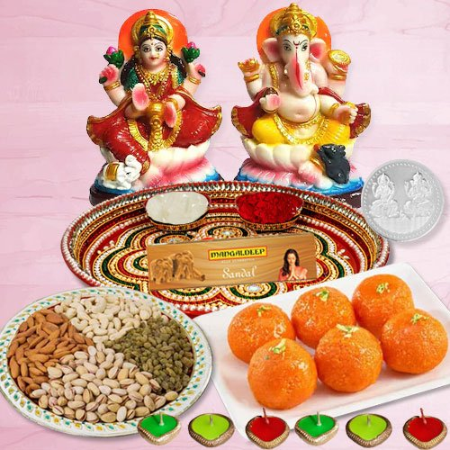 Laxmi Pooja Complete Hamper with Dry Fruits and Ladoo for Diwali