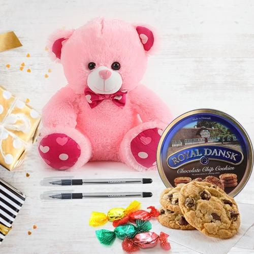 Enduring Teddy Bear with Tempting Chocolates