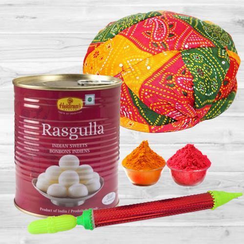 Joyous Holi Gift of Rajasthani Pagri with Pichkari, Haldiram Rasgulla N Free Gulal