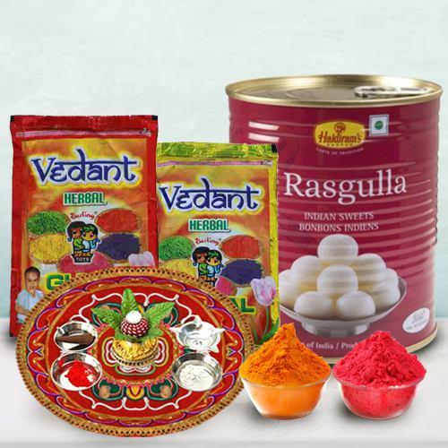 Holi Delight Haldiram Rasgulla, Puja Thali N Herbal Gulal Gift Combo