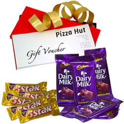 Favorite Cadbury Dairy Milk with 5 Star N Pizza Hut Gift Voucher