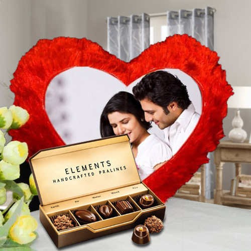Exclusive ITC Chocolates with Heart Shaped Personalized Cushion