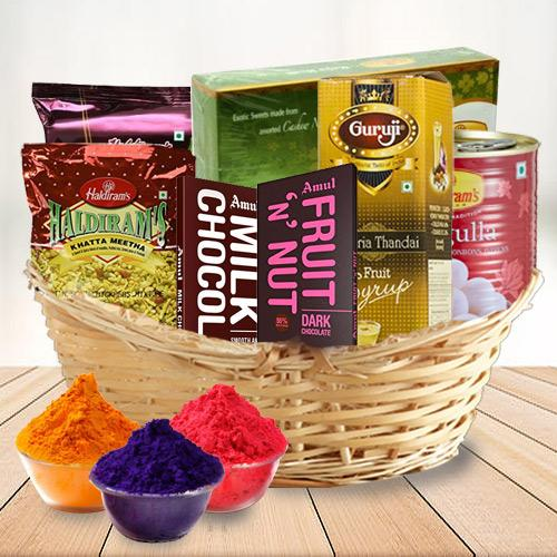 Special Sweet n Sour Holi Gifts Basket.