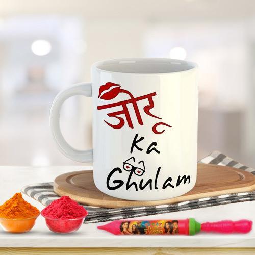Special Holi Gift of Coffee Mug Set n Herbal Gulal