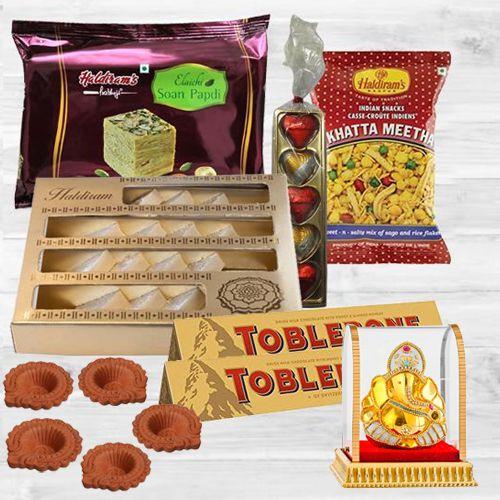 Joyful Diwali Hamper of Haldiram Sweets-Snacks, Diya n Lord Idol