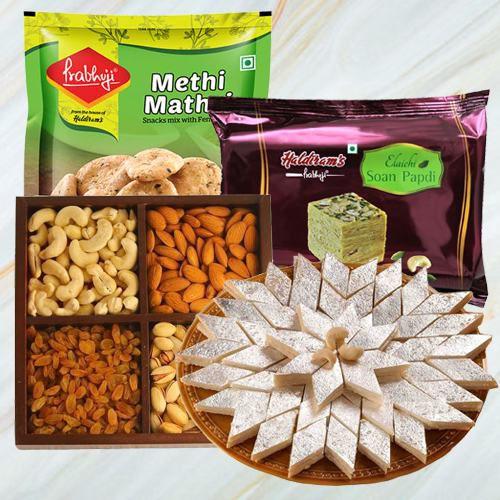 Alluring Gift Basket of Dry Fruits, Haldiram Sweets n Snacks