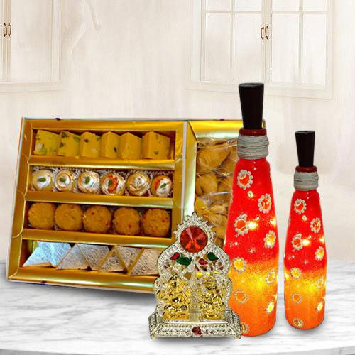 Beautiful Bottle Art Lamp Set with Antique Ganesh Laxmi Mandap n Assorted Sweets
