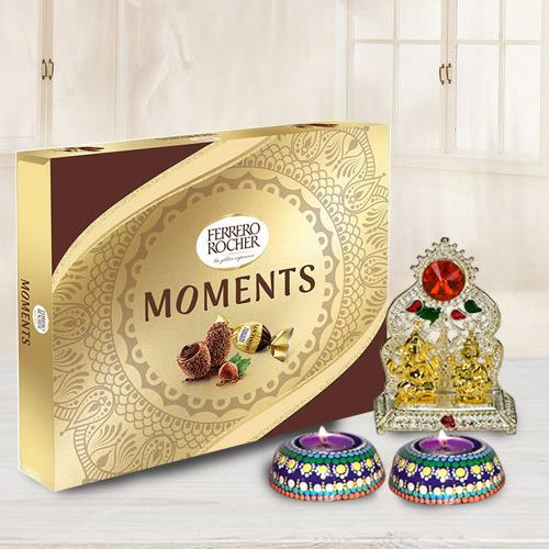 Antique Ganesh Laxmi Mandap with Dot Mandala Art Handmade Diya Set n Ferrero Rocher Chocolate