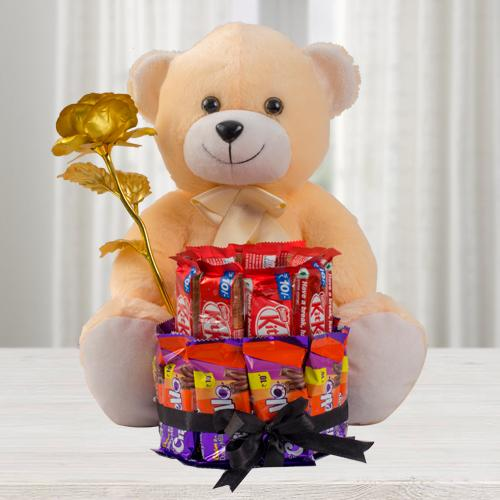 Premium Teddy with Golden Rose n 2 Tier Chocolate Arrangement