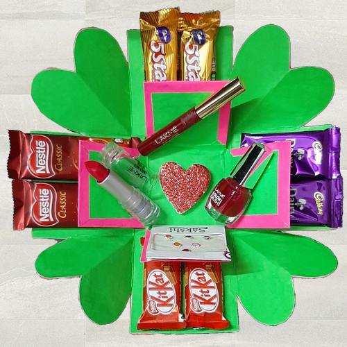 2 Layer Explosion Box of Lakme Cosmetics n Chocolates