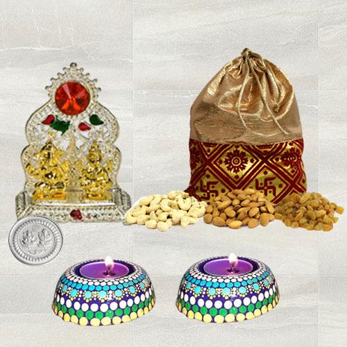 Auspicious Diwali Gift of Ganesh Laxmi Mandap, Dry Fruits n Hand Made Wax Candle