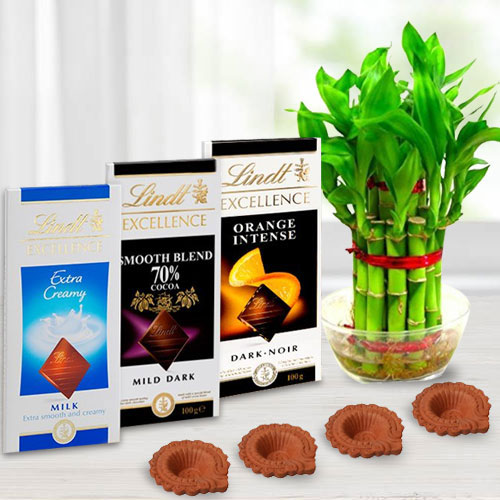 Environment Friendly Diwali Gift of Plant, Lindt Chocolates n Diya