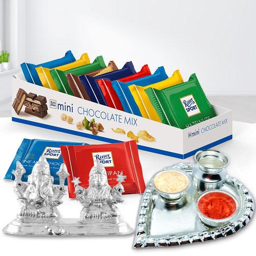 Imported Ritter Sport Chocolates with Auspicious Ganesh Laxmi Idol n Pooja Thali
