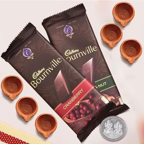 Twin Cadbury Bournville Chocolates with Diya, Free Coin for Diwali