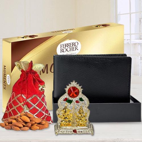 Auspicious Ganesh Laxmi Mandap with a Gents Leather Wallet, Ferrero Rocher Chocolate n Crunchy Almonds