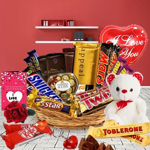 Exceptional Gift Basket of Assorted Chocolates with V-Day Essentials