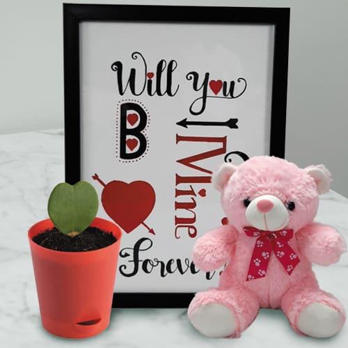 Wonderful Photo Frame with Cute Teddy n Hoya Heart Plant