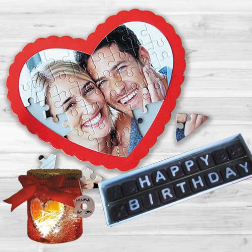 Wonderful Personalized Heart Puzzle, Handmade Chocolate N LED Lamp