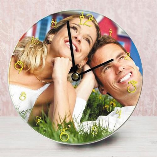 Wonderful Personalized Photo Glass Round Wall Clock