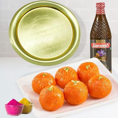 Delicious Haldirams Ghee Laddu, Golden Plated Thali n Thandai for Holi