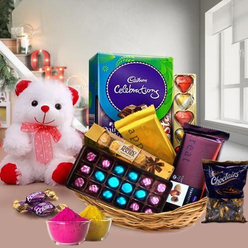 Lip-Smacking Chocos Gift Basket for Holi