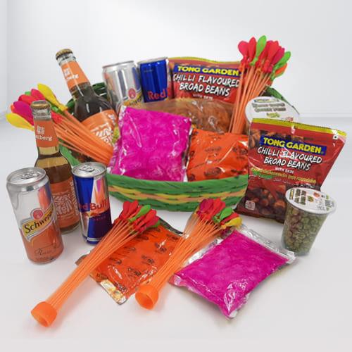 Delightful Holi Gifts Basket of Snacks n Drinks