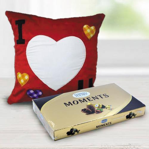 Mesmerizing Personalized ILU Velvety Cushion with Ferrero Rocher