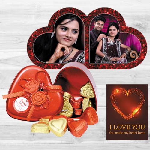 Lovely Personalized HB Duel Heart with Handmade Chocolates n ILU Card
