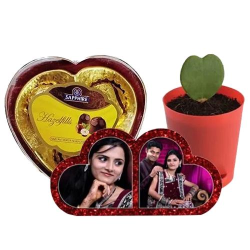 Impressive Personalized HB Double Heart, Zoya Heart Plant n Sapphire Chocolate