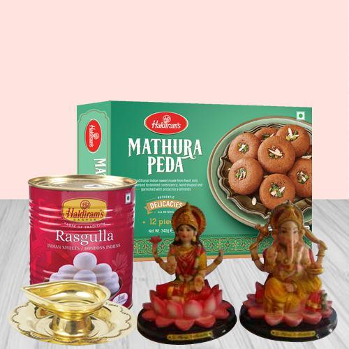 Lord Ganesha N Traditional Haldirams Sweets Combo