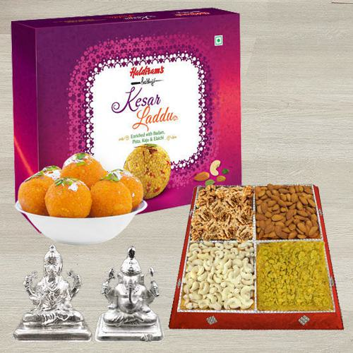 Tasty Gift of Haldiram Kesar Laddoo, Dry Fruits n Idol