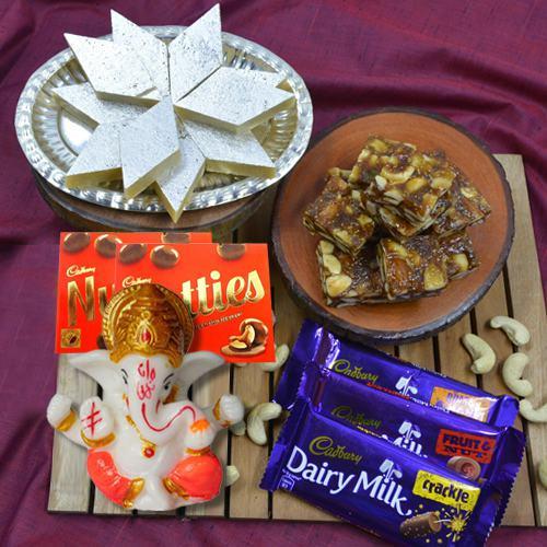 Classic Gift of Haldiram Mithai n Cadbury Chocolates, Lord Idol
