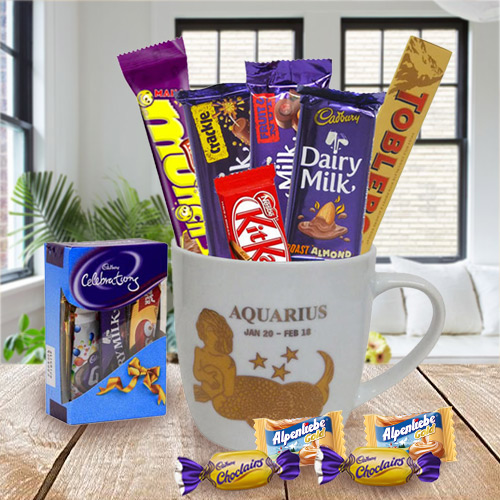 Aquarius Sun Sign Mug N Chocolates Combo