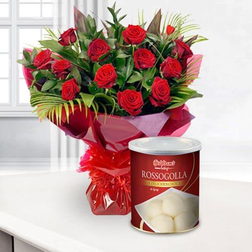 Mesmerizing Bouquet of Red Roses with Haldiram Rasgulla