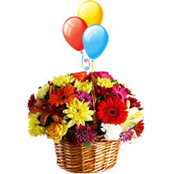 Luxurious Celebrate the Moments Beautiful Flowers and Bright Balloons