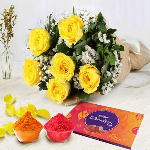 Ornate Yellow Roses Corsage and Cadbury Assortment Chocolates