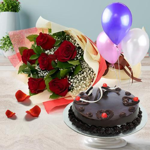 Wholesome Delicious Truffle Cake with Red Roses Bunch and Balloons<br><br>