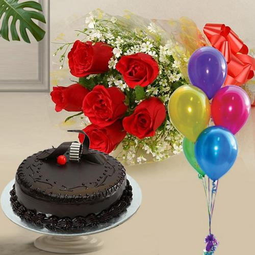 Rose Bouquet with Balloons N Chocolate Cake