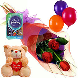 Roses with Teddy, Balloons N Chocolates