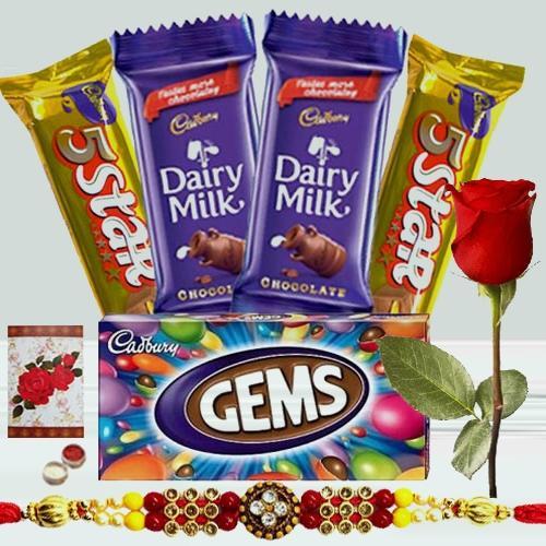 2 pcs Dairy Milk (13 gms each), 1 pc Gems, 2 pcs 5star, 1 Designer Rakhi with Single Red Rose
