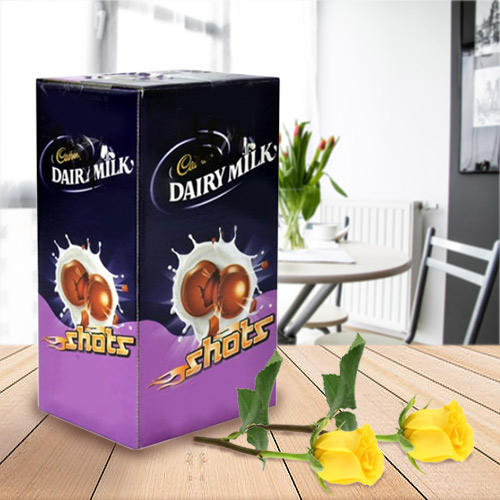Cadbury Dairy Milk Shots with Yellow Roses