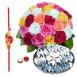 Delicious Kaju Katli and Arrangement of 24 Mixed Colorful Roses with Free Rakhi Roli Tika and Chawal